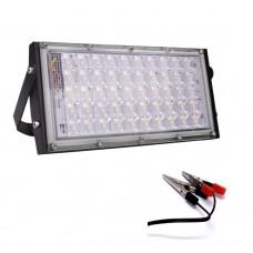 FLOOD LIGHT LED LENS- 35W 12V DC WITH CLAMPS FOR BATTERY
